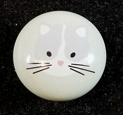 Porcelain Kitty Cat Drawer Pull Knob Pale Green