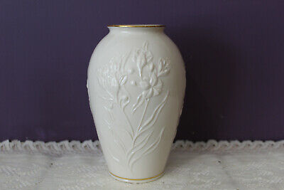 "Lovely Lenox Usa Ivory 8"" Vase Embossed Flowers With Gold Trim"