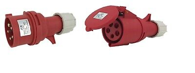JCE 16 AMP 32 AMP Red 415V 3 Phase Industrial Plugs + Sockets 5 Pin IP44 Rated