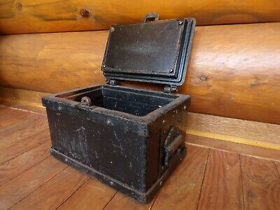 "Antique Strongbox 1800's 13"" X 9"" X 7"" Safe Iron Stagecoach Lock Box Heavy Old"