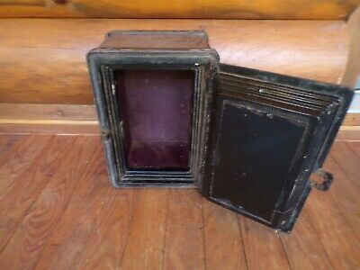 "Antique Strongbox 1800's 14"" X 10"" X 9"" Safe Iron Stagecoach Lock Box Heavy Old"