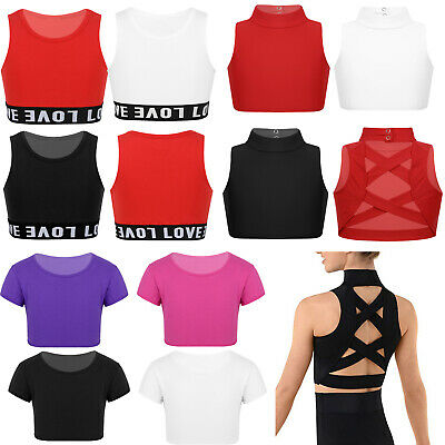 Kids Girls Gymnastics Crop Tops Ballet Dance Sports Casual T-Shirt Tops Costume