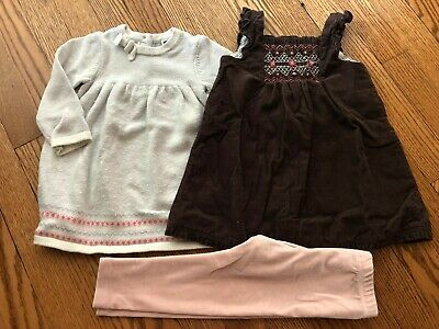 Toddler Girl's JANIE & JACK Dress + Leggings Lot - Size 12-18 Months