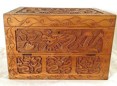 Antique carved wood wooden dragon writing slope box
