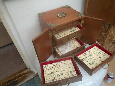 Lovely Chinese antique Mahjong set with wood & brass cabinet  UNUSUAL COUNTERS