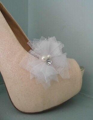 2 White Netted Clips for Shoes with Pearl & Diamante Centre