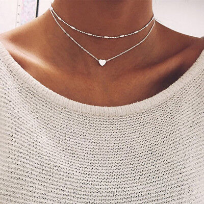 CO_ FT- Women's Simple Double layers chain Heart Pendant Necklace Choker Jewelry