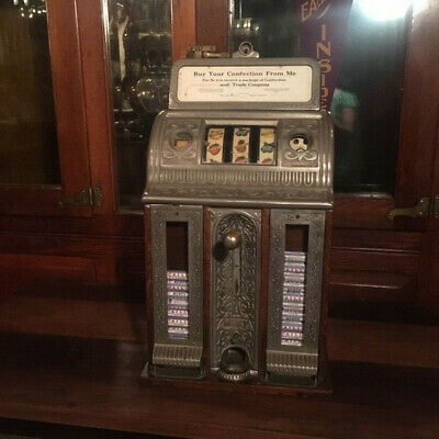 Original Caille Cast-Iron Center-Pull Victory Bell Slot Machine w/Vender c1920