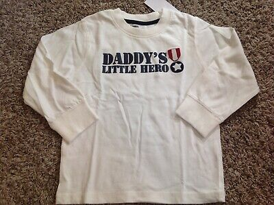 "NWT GYMBOREE Boy Ivory ""DADDY'S LITTLE HERO"" Long Sleeved Shirt SZ 3T *19"