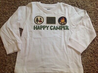 """NWT GYMBOREE Boy Long Sleeved White Shirt """"HAPPY CAMPER"""" Campfire 3T *19"""