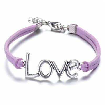 1pc Fashion Women Silver Tone LOVE Cuff Bangle Purple Charm Bracelet Jewelry New