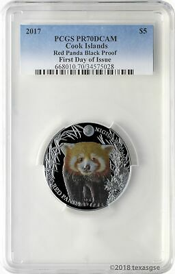 2017 $5 Cook Islands Red Panda .999 Silver Black Proof Coin PCGSPR70DCAM FD