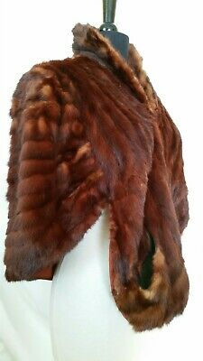 JACQUES Furs of Distinction Parisian Furrier Genuine Fur Stole Shrug Bolero Red