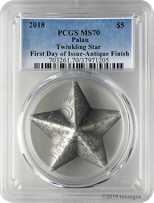 2018 $5 Palau Twinkling Star 1oz .999 Silver Antique Finish Coin PCGS MS70 FD
