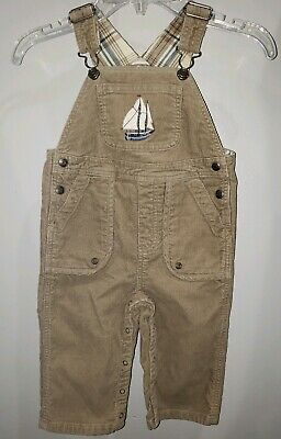 Janie and Jack Boys Corduroy Sailboat Overalls Size 12-18 Months