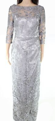 JS Collections Womens Gown Gray US Size 8 Floral Lace Overlay Seamed $375 029