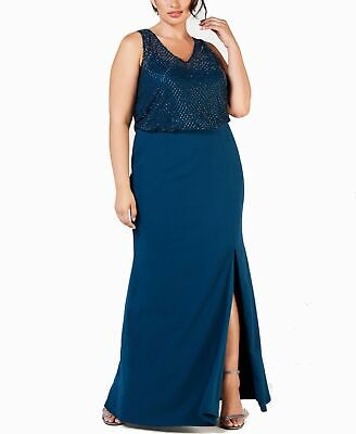 Adrianna Papell Womens Gown Blue US 14W Plus Embellished Front Slit $289 036