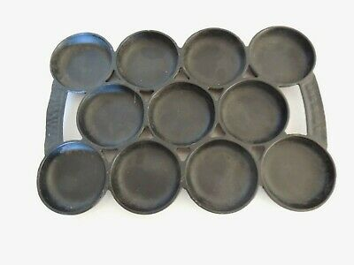 Antique Cast Iron WATERMAN GEM Scone Muffin Baking Pan Pat 1859 - 11 Sections