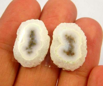 100% Natural Pair White Solar Druzy Agate Cabochon Gemstone21ct 17x13mm NG11604