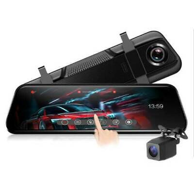 1080P 10' Dual Lens Car Auto DVR Mirror Dash Cam Recorder+Rear View+Touch Screen
