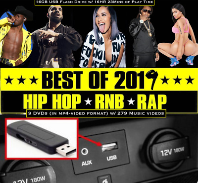 2019 Hip Hop & RnB 279 Music Videos in mp4-video format on 16GB USB FLASH DRIVE