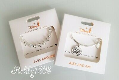 Disney ALEX & ANI Happily Ever After Mickey Minnie Icon Silver Bangle Bracelet
