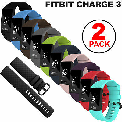 2-Pack Sports Soft Watch Band Silicone Strap Bracelet For Fitbit Charge 3