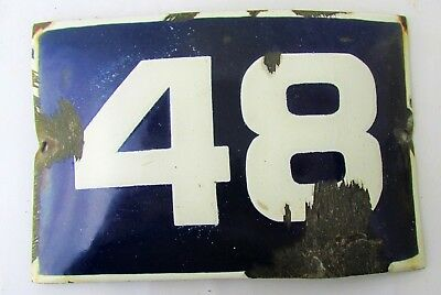 Vintage Enamel Porcelain Sign House Door Number 48 Classical Cobalt Blue R