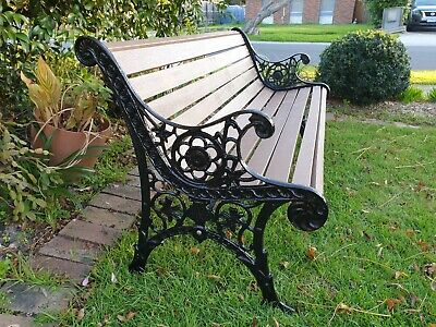 Heavy Cast Iron And Merbau Timber Slats Garden Seat