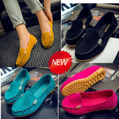 Suede Women Ladies Leather Shoes Boat Loafers Moccasins Flats Pumps Slip On Size