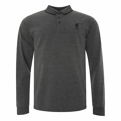 Liverpool FC Charcoal Long Sleeve Mens Football Polo Shirt LFC Official