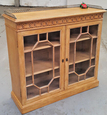 Antique Victorian Stripped Pine Glazed 2 Door Bookcase With Brass Gallery.