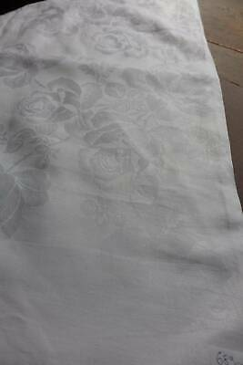 "Vintage white Irish linen damask tablecloth - Roses. 68"" sq"