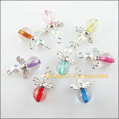 16 New Dancing Angel Charms Silver Plated Wings Mixed Pendants 14x21mm