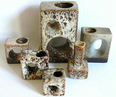 6x VEST KERAMIEK VAN WOERDEN LOCHVASEN CHIMNEY HOLE DUTCH POTTERY FAT LAVA