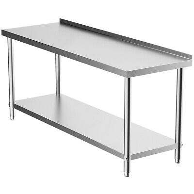 6ft Stainless Steel Catering Table Worktop Work Bench Kitchen Dining +Backsplash