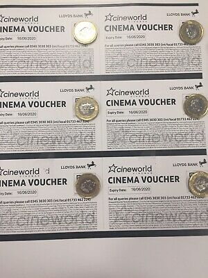 6 Cineworld Cinema Tickets. Expire 16/06/20