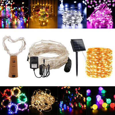 Solar Battery LED String Fairy Lights Plug in Outdoor Room Decorations Christmas