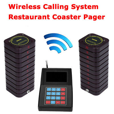 433.92MHZ Queuing Pager Calling System Equipment 1Transmitter+20 Coaster Pagers