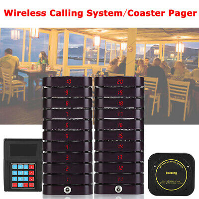433.92MHZ Pager Queuing Calling System Equipment 1Transmitter+20 Coaster Pagers