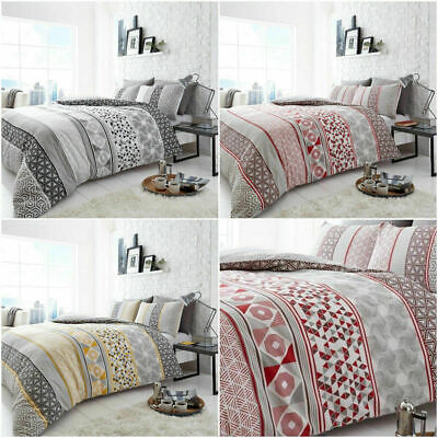 HELSBY DUVET COVER SET ABSTRACT REVERSIBLE QUILT BEDDING BED PILLOW CASES SET