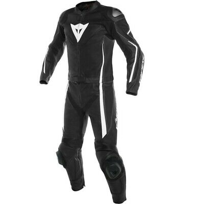 Dainese Assen Perf 2 Piece Leather Motorcycle Suit Black/White