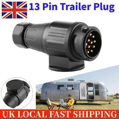 Plastic 13 Pin Trailer Plug Pole Wiring Connector Adapter for Trailers Caravans