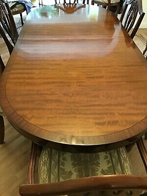 Dining Table. Med. Mahogany Twin Pedestal Extending Oval + Heat Resist Cover