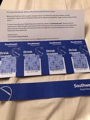 Southwest Drink Vouchers Coupons X4 Expires july 31, 2020 NEXT YEAR