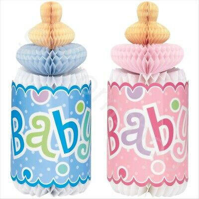 "12"" Blue & Pink Baby Bottle Honeycomb Table Decor Baby Shower Party Decorations"