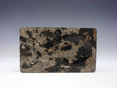 Vintage Nephrite Jade Stone Ink Slab Shaped Paperweight Flower Blossom #04161905