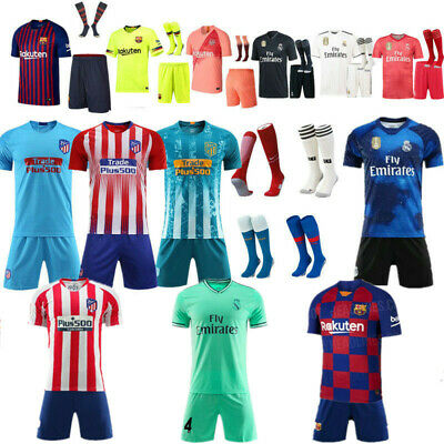 Custom Football Outfit Strips &Youth Soccer Suits Training Jerseys Kits For Kids
