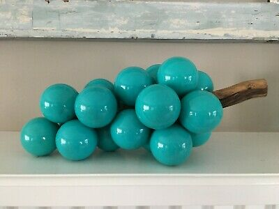 Vtg Lucite Grape Bunch Opaque Turquoise Blue on Driftwood Stem Mid Cent RETRO!