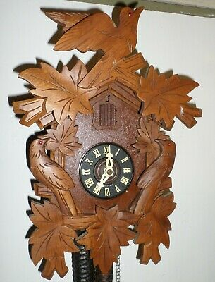 Nice Large Unusual German Black Forest 3 Birds Hand Carved Cuckoo Clock!